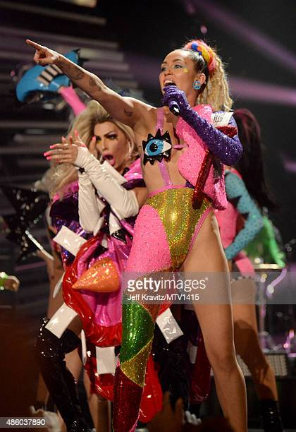 Host Miley Cyrus performs onstage during the 2015 MTV Video Music Awards at Microsoft Theater on August 30 2015 in Los Angeles California