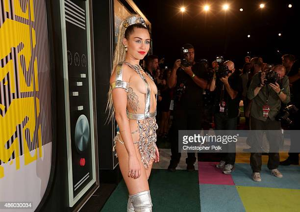Host Miley Cyrus, styled by Simone Harouche, attends the 2015 MTV Video Music Awards at Microsoft Theater on August 30, 2015 in Los Angeles,...