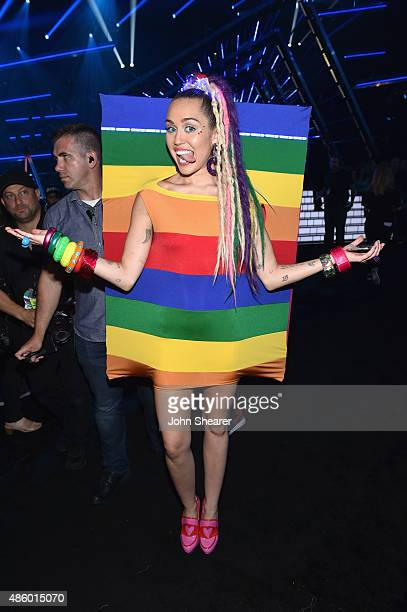 Host Miley Cyrus styled by Simone Harouche in the audience during the 2015 MTV Video Music Awards at Microsoft Theater on August 30 2015 in Los...