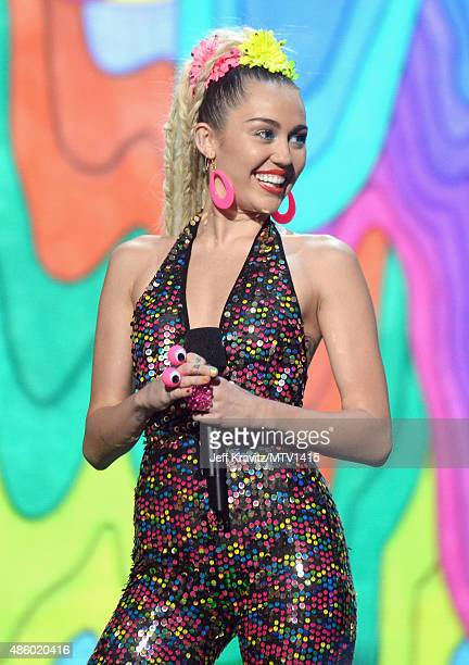 Host Miley Cyrus styled by Simone Harouche onstage during the 2015 MTV Video Music Awards at Microsoft Theater on August 30 2015 in Los Angeles...