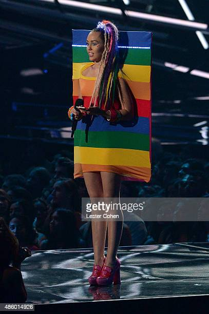 Host Miley Cyrus styled by Simone Harouche speaks onstage during the 2015 MTV Video Music Awards at Microsoft Theater on August 30 2015 in Los...