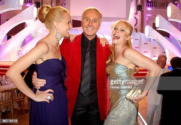 TV host Mirjam Weichselbraun and Klaus Eberhartinger and Melanie Binder attend the '20th Romy Award' at the Hofburg on April 25 2009 in Vienna Austria