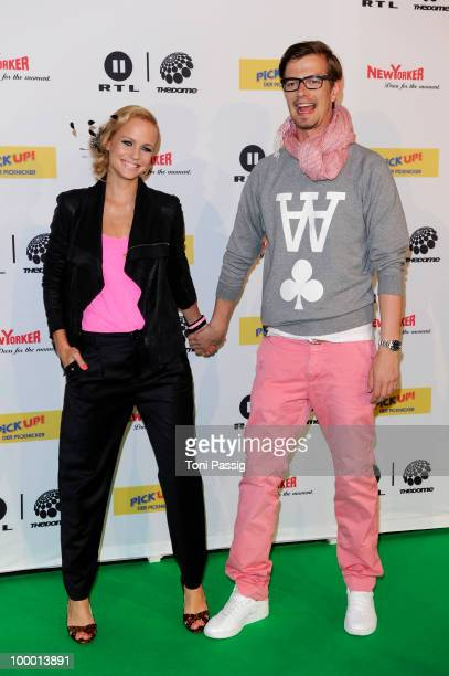 Host Mirjam Weichselbraun and tv host Joachim 'Joko' Winterscheidt arrive at 'The Dome 54' at Schleyerhalle on May 20, 2010 in Stuttgart, Germany.