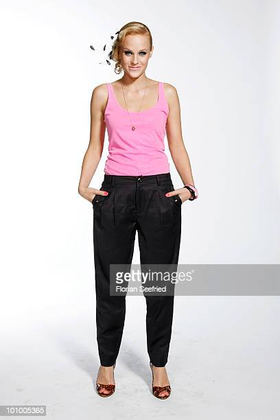 TV host Mirjam Weichselbraun poses backstage of 'The Dome 54' at the Schleyerhalle on May 20 2010 in Stuttgart Germany