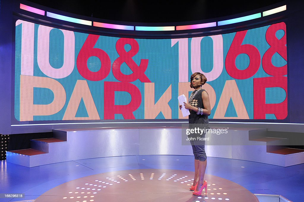 Host Miss Mykie at BET's '106 & Park' at BET Studios on May 6, 2013 in New York City.