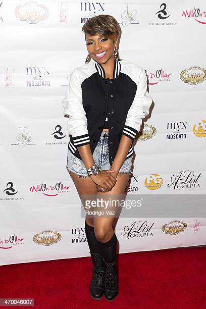 Host Miss Mykie attends the Basketball Wives LA Season Premiere Party at Allure Studios on February 17 2014 in Los Angeles California