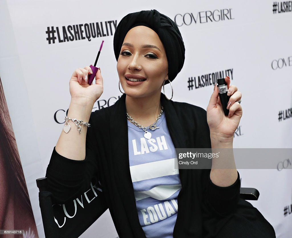 DJ, host, model and actress Amy Pham and beauty blogger Nura Afia (pictured) offer a sneak peek at the new COVERGIRL So Lashy mascara and commercial that promotes #LashEquality on November 1, 2016 in New York City.