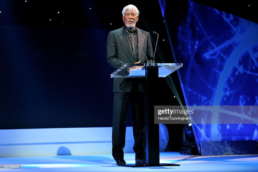 Host Morgan Freeman delivers a speech during the Fundamental Physics Prize Foundation Inaugural Prize Ceremony at the CICG on March 20, 2013 in Geneva, Switzerland. The prize is today the most financially lucrative scientific prize in the world, with its nine Inaugural recipients to receive 27 million USD collectively, providing them more freedom and opportunity to pursue future accomplishment. Led by a not-for-profit corporation, the Fundamental Physics Prize Foundation dedicates itself to advance the knowledge of the Universe at the deepest level.