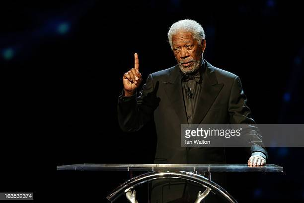 Host Morgan Freeman during the awards show for the 2013 Laureus World Sports Awards at the Theatro Municipal Do Rio de Janeiro on March 11 2013 in...