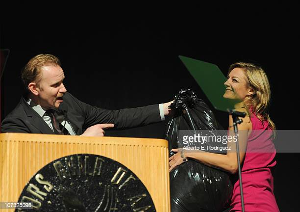 Host Morgan Spurlock and director Lucy Walker on stage at the International Documentary Association's 26th annual awards ceremony at the Directors...