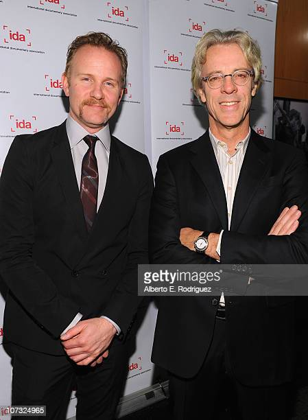 Host Morgan Spurlock and Stewart Copeland arrive at the International Documentary Association's 26th annual awards ceremony at the Directors Guild Of...