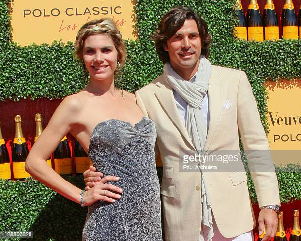 Host Nacho Figueras and Delfina Blaquier arrive at the 2nd annual Veuve Clicquot polo classic at Will Rogers State Historic Park on October 9, 2011...