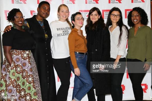 Host Nana aba Duncan filmmakers Kourtney Jackson Maddy Pilon Rebeca Ortiz Jasmin Mozaffari Kayla Resendes and Marsha Greene attend the 16th Annual...