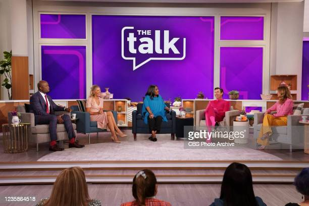 Host Natalie Morales makes her debut on The Talk, Monday, October 11, 2021 on the CBS Television Network. From left, Akbar Gbajabiamila, Amanda...