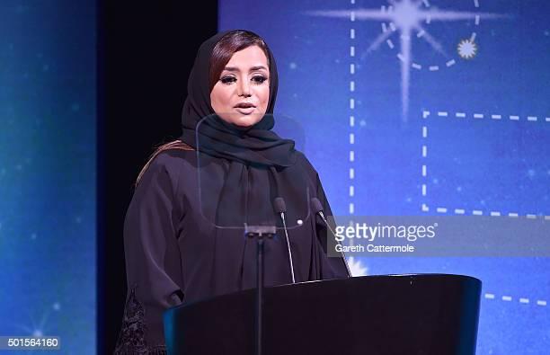 Host Nayla Al Khaja on stage during the Muhr Awards on day eight of the 12th annual Dubai International Film Festival held at the Madinat Jumeriah...