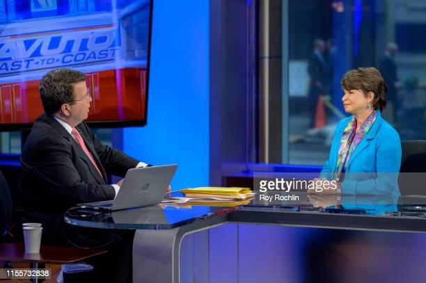 "Host Neil Cavuto with Former Senior Advisor to the Barack Obama White House Valerie Jarrett visits ""Cavuto: Coast To Coast"" at the Fox Business..."