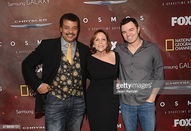 Host Neil deGrasse Tyson Writer Executive Producer and Director Ann Druyan and Executive Producer Seth MacFarlane attend the premiere of Fox's Cosmos...