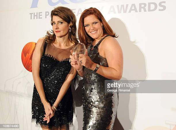 Host Nia Vardalos and PG Beauty and Grooming GM Danielle Bibas attend the 2009 PG Beauty Awards at The Carlu on October 29 2009 in Toronto Canada