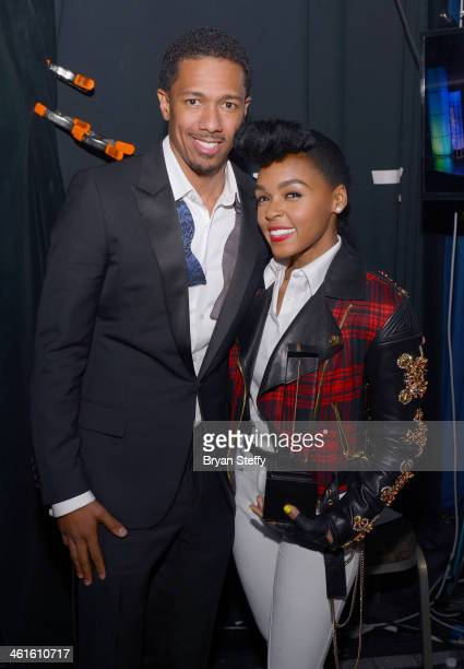 Host Nick Cannon and honoree Janelle Monae pose with the Breakthrough Award for Music at the Variety Breakthrough of the Year Awards during the 2014...