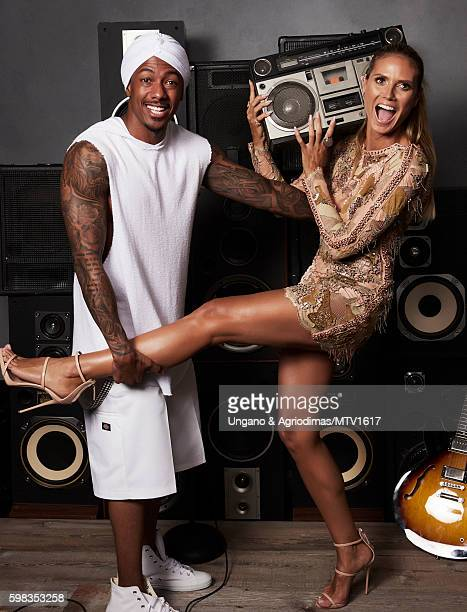 TV host Nick Cannon and model Heidi Klum pose for a portrait at the 2016 MTV Video Music Awards at Madison Square Garden on August 28 2016 in New...