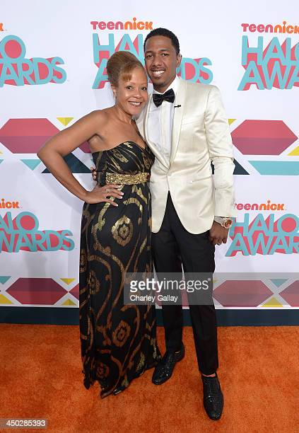 Host Nick Cannon and mother Beth Gardner arrive at the 5th Annual TeenNick HALO Awards at Hollywood Palladium on November 17 2013 in Hollywood...