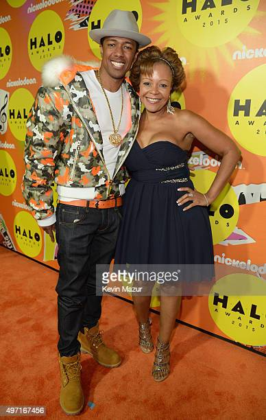 Host Nick Cannon and mother Beth Gardner attend the 2015 Nickelodeon HALO Awards at Pier 36 on November 14 2015 in New York City
