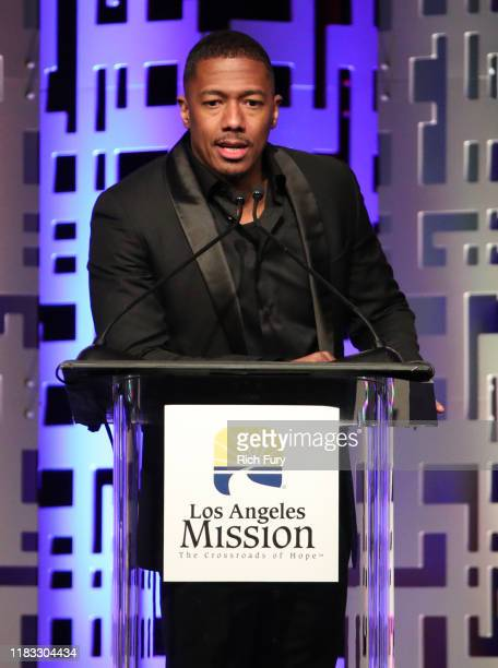 Host Nick Cannon speaks onstage at The Los Angeles Mission Legacy Of Vision Gala at The Beverly Hilton Hotel on October 24, 2019 in Beverly Hills,...