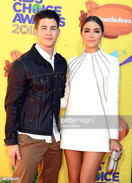 Host Nick Jonas and Olivia Culpo attend Nickelodeon's 28th Annual Kids' Choice Awards held at The Forum on March 28 2015 in Inglewood California