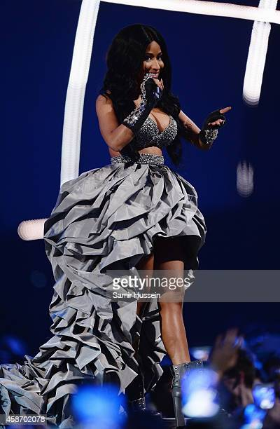 Host Nicki Minaj on stage during the MTV EMA's 2014 at The Hydro on November 9 2014 in Glasgow Scotland