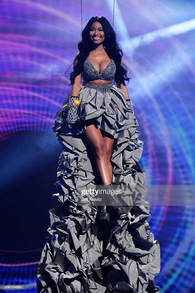Host Nicki Minaj on stage during the MTV EMA's 2014 at The Hydro on November 9, 2014 in Glasgow, Scotland.