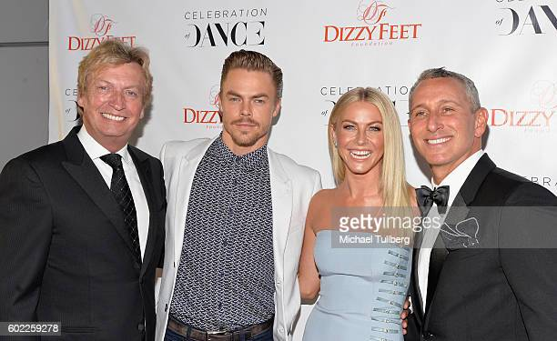 Host Nigel Lythgoe professional dancers Derek Hough and Julianne Hough and producer Adam Shankman attend the 6th Annual Celebration of Dance Gala...