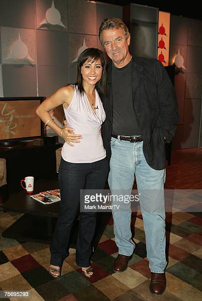 Host Nikki Boyer and actor Eric Braeden of The Young and the Restless pose on the set at the Television Guide Channel Studios on July 18 2007 in...
