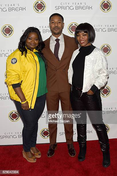 Host Octavia Spencer actors Michael B Jordan and Angela Bassett attend City Year Los Angeles Spring Break Event at Sony Studios on May 7 2016 in Los...