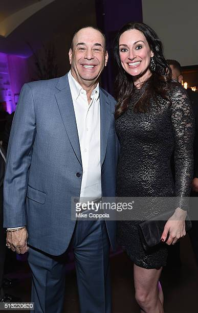 Host of Bar Rescue Jon Taffer and mixologist Mia Mastroianni attend Spike's Bar Rescue 100th Episode Celebration with Jon Taffer at STK Midtown on...