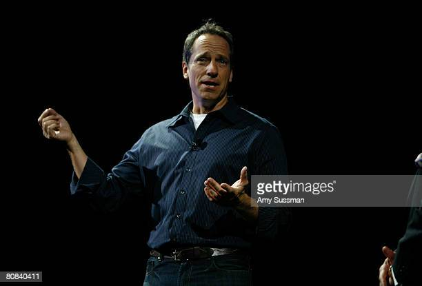 Host of 'Dirty Jobs' Mike Rowe speaks at the Discovery Upfront event at Jazz at Lincoln Center on April 23 2008 in New York City