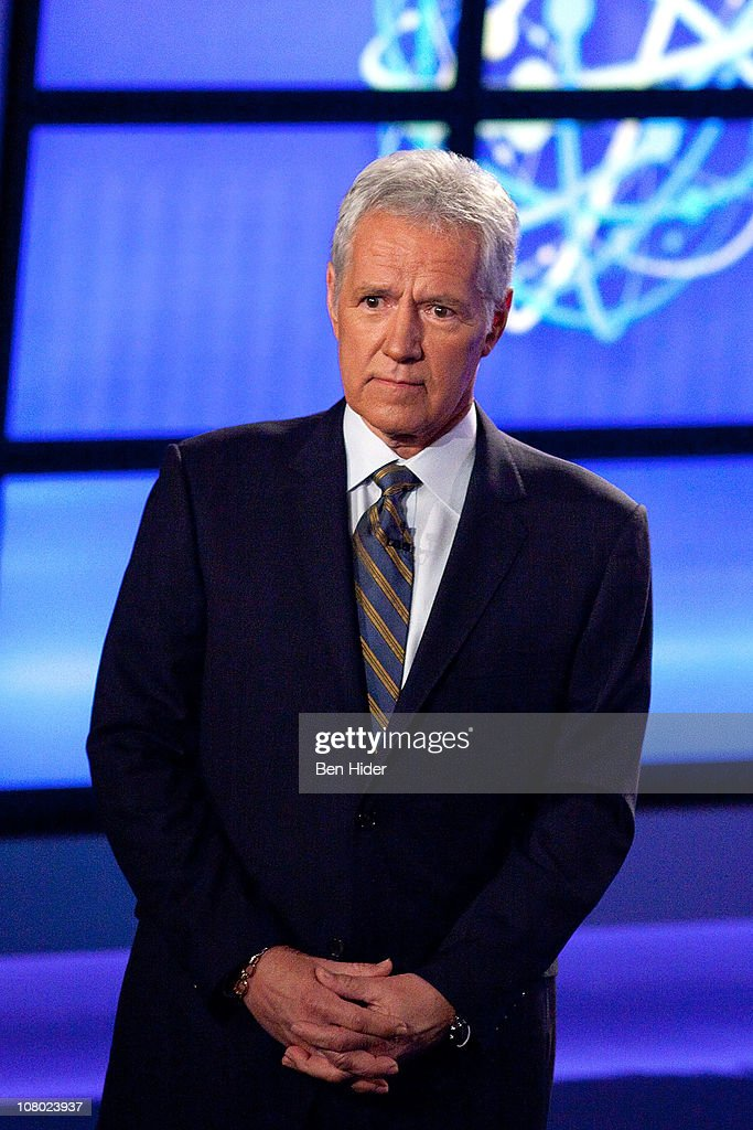 Host of 'Jeopardy!' Alex Trebek attends a press conference to discuss the upcoming Man V. Machine 'Jeopardy!' competition at the IBM T.J. Watson Research Center on January 13, 2011 in Yorktown Heights, New York.