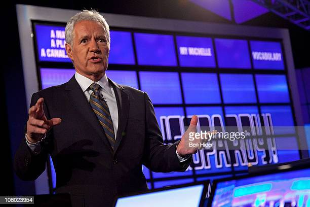 Host of 'Jeopardy' Alex Trebek attends a press conference to discuss the upcoming Man V Machine 'Jeopardy' competition at the IBM TJ Watson Research...