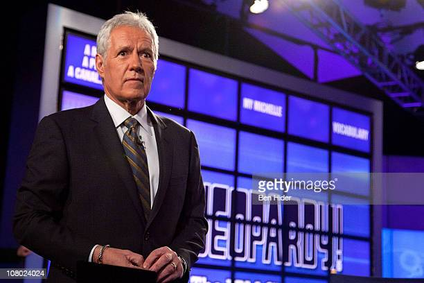 Host of Jeopardy Alex Trebek attends a press conference to discuss the upcoming Man V Machine Jeopardy competition at the IBM TJ Watson Research...