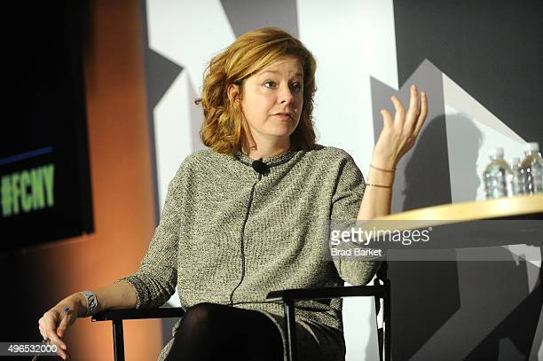 Host of Marketplace Weekend Lizzie O'Leary speaks on stage during 'The Fast Company Innovation Festival' Data Drugs The New Evolution Of Drug Making...