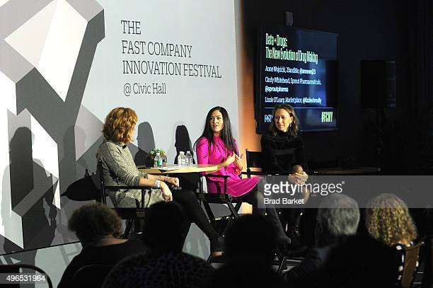 Host of Marketplace Weekend Lizzie O'Leary Sprout Pharmaceuticals CEO Cindy Whitehead and 23andMe CEO Anne Wojcicki speak onstage during 'The Fast...