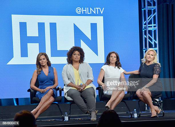 Host of Morning Express Robin Meade Host of Michaela Michaela Pereira new HLN host Erica Hill and VP of HLN Programming Stephanie Todd speak onstage...
