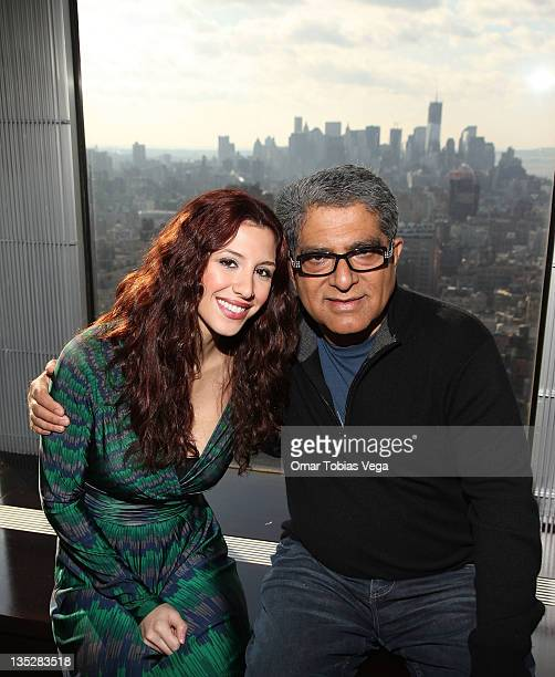 Host of PalTalk Diana Falzone and Deepak Chopra attend the Deepak Chopra press reception at Paltalk Studio on December 8 2011 in New York City