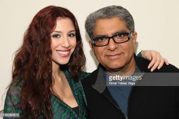 Host of 'PalTalk' Diana Falzone and Deepak Chopra attend the Deepak Chopra press reception at Paltalk Studio on December 8 2011 in New York City