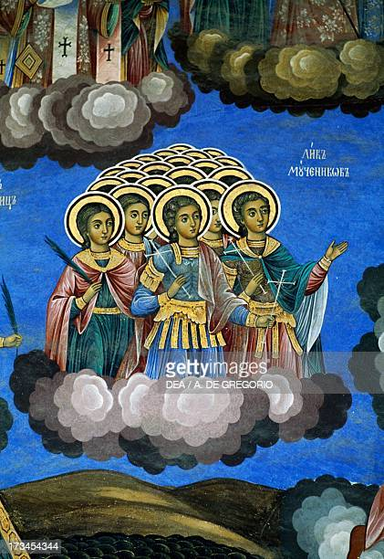 Host of saints in heaven fresco Rila Monastery Bulgaria
