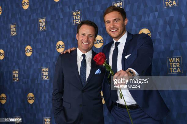 Host of The Bachelor Chris Harrison and Star of The Bachelor season 24 Peter Weber attend ABC's Winter TCA 2020 Press Tour in Pasadena California on...