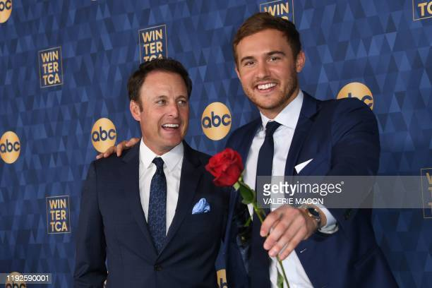 """Host of """"The Bachelor"""" Chris Harrison and Star of """"The Bachelor"""" season 24 Peter Weber attend ABC's Winter TCA 2020 Press Tour in Pasadena,..."""
