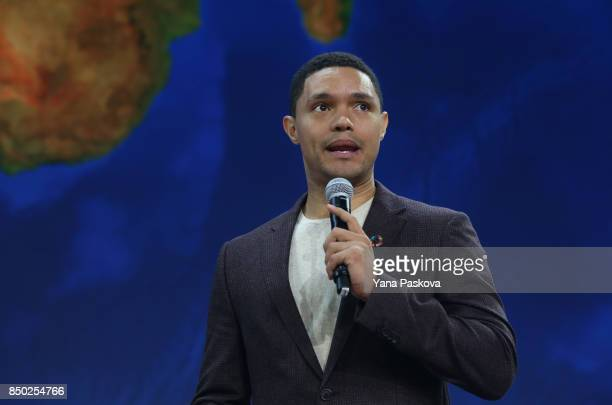 Host of The Daily Show Trevor Noah speaks ahead of former US President Barack Obama at the Gates Foundation Inaugural Goalkeepers event on September...