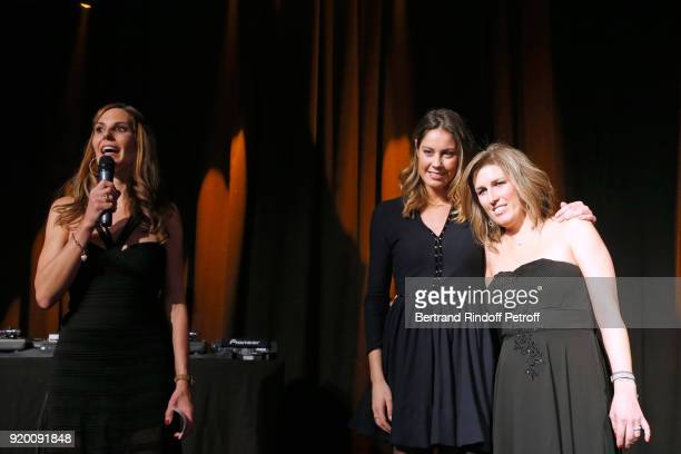 Host of the evening Journalist at RTS Katia Hess Fanny Leeb and President of the L'Etoile de Gael Association Karine Blanc attend the Snow Night La...