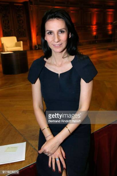 Host of the evening Marie Drucker dressed in Martin Grant attends the Tribute to ELie Wiesel by Maurice Levy X Publicis Group at La Sorbonne on...