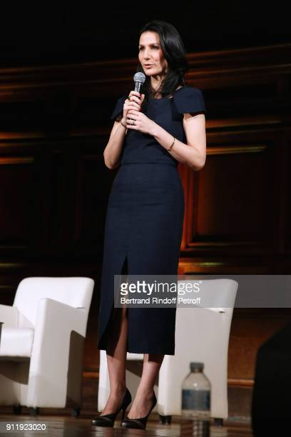Host of the evening Marie Drucker dressed in Martin Grant presents the Tribute to ELie Wiesel by Maurice Levy X Publicis Group at La Sorbonne on...